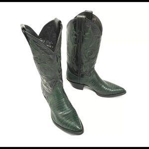 Justin Tall Snake Skin Inlay Cowboy Boots SZ 61/2B